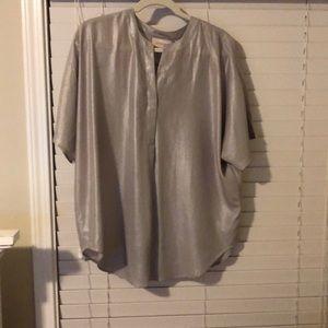 Metallic silver blouse